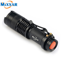ZK93 CREE Q5 Mini Black 2000LM Waterproof LED Flashlight 3 Modes Zoomable LED Torch penlight Free Shipping