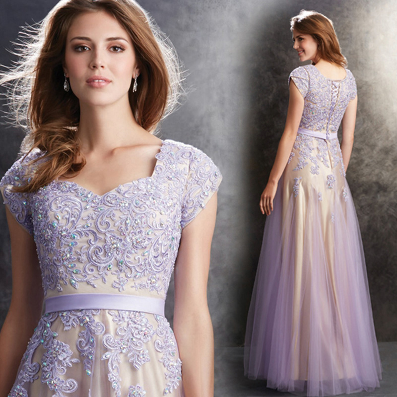 zkc uncle long elegant prom dresses purple short sweetheart lace ...