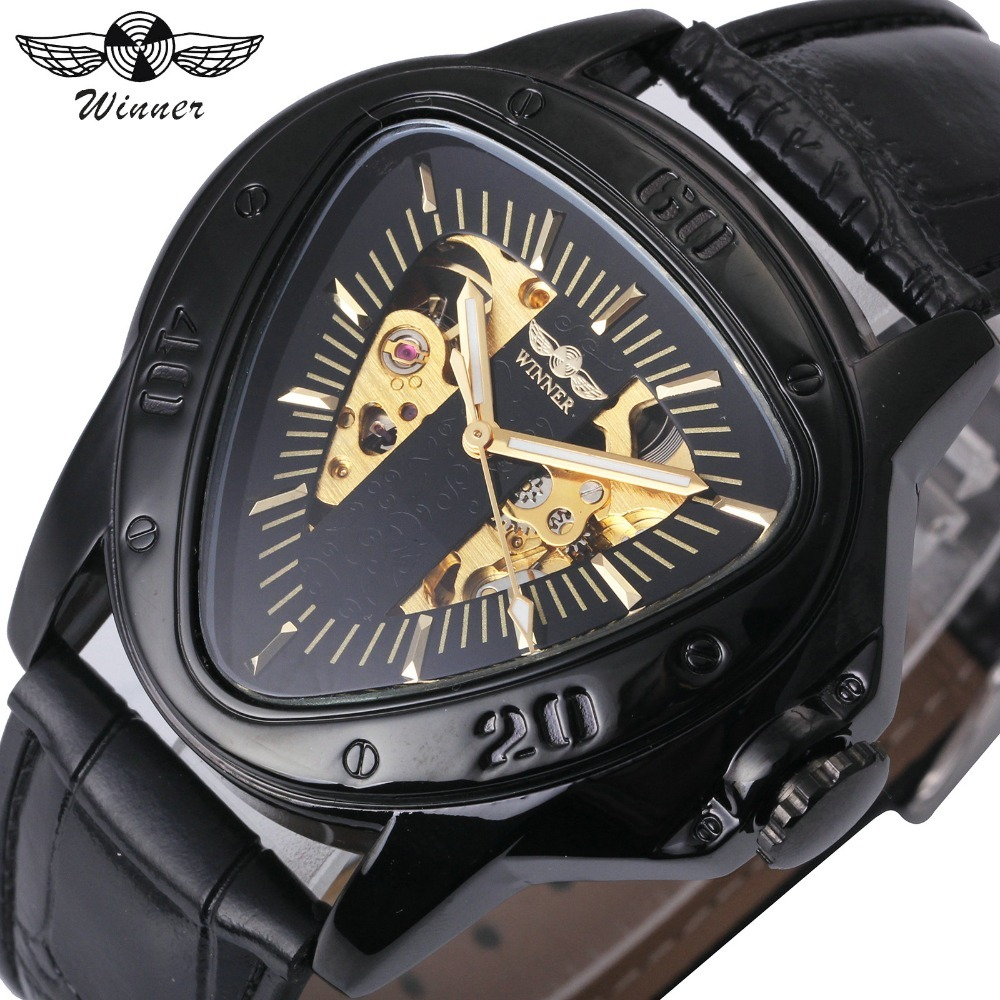 T-Winner Fashion Men Auto Mechanical Watch Leather Band Inverted Triangle Shaped Case Skeleton Dial Design Unique Gift + BOX t winner fashion women girl skeleton dial handind mechanical watch watches pu leather band wristwatches gift free ship