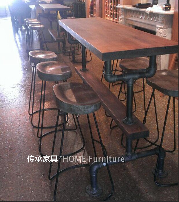 American LOFT retro style Bar tables Bar chairs wrought iron pipe industry wood coffee table bar