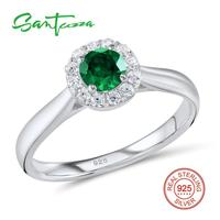 Silver Rings For Women Green Crystal White Cubic Zirconia Stone Rings Pure 925 Sterling Silver Party