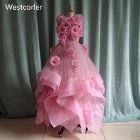 ที่สวยงามสีม่วงอ่อนชุดสาวดอกไม้สำหรับงานแต่งงานมือทำดอกไม้คอJewelชั้นความยาวสาวน้อยประกวด...