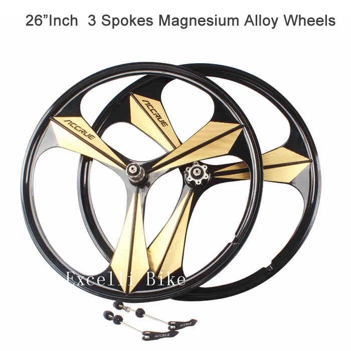 1 paire 3 rayons roues en alliage de magnésium trois rayons roues montagne Bicicleta 26 montagne Bicicletas montagne Bike26