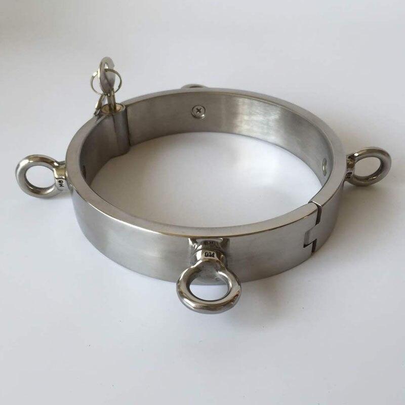 Acier inoxydable 4-ear esclave collier cou bondage contraintes jeux pour adultes bdsm collier collier fétiche sex toys pour femmes/hommes