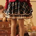 Japonés de la tela escocesa de las mujeres de encaje bordado hasta la rodilla lindo kawaii mujeres line femenina elegante lolita falda corta mori chica k020