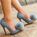 New Fashion Fur Pom Pom Women Pumps Sexy Denim High Heels Wedding Dress Shoes Woman Pointed Toe Zapatos Mujer Valentine Shoes