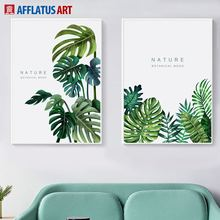 AFFLATUS Monstera Palm Leaves Wall Art Canvas Painting Nordic Posters And Prints Nature Pictures For Living Room Decor