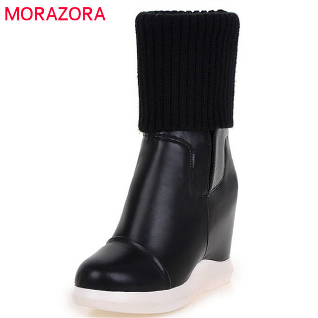 MORAZORA 2020 new style round toe mid calf boots women slip on Stretch boots comfortable wedges shoes woman autumn winter boots