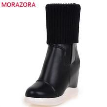 MORAZORA 2020 w nowym stylu okrągłe toe średnio wysokie buty z cholewami kobiety slip on Stretch buty wygodne kliny buty kobieta jesień buty zimowe