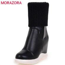 Morazora 2020 Phong Cách Mới Mũi Tròn Giữa Bắp Chân Giày Nữ Slip On Co Giãn Giày Thoải Mái Giày Đế Xuồng Nữ Thu Đông giày