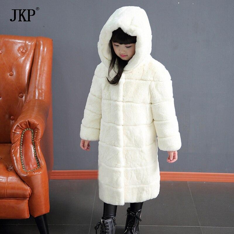 Зимние детские меховые пальто, настоящая куртка с мехом кролика Рекс, теплая меховая верхняя одежда с капюшоном для мальчиков и девочек, детский утепленный пуховик