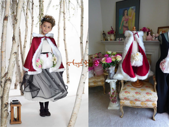 Red hip length flower girl faux fur cloaks cape winter satin jacket hooded wrap bolero wedding party coat outwear with hand muff