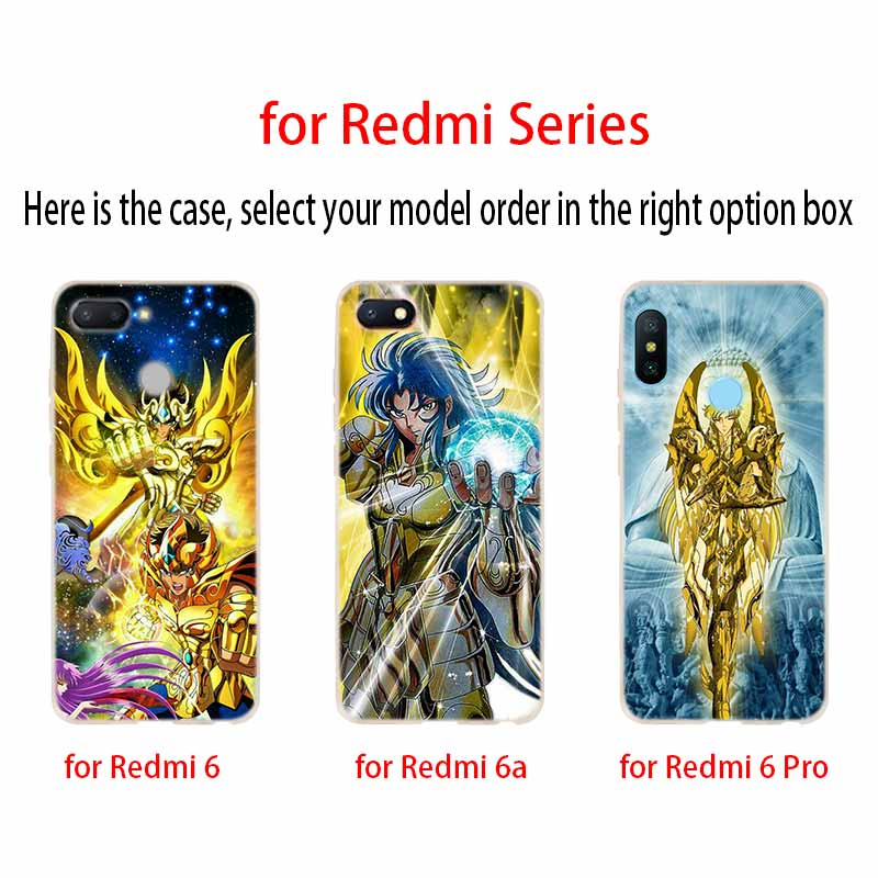 Image 4 - Saint Seiya Fashion Soft TPU Case Cover For Coque Xiaomi Redmi 8A 4A 5A 6A 4X 5 Plus 6 Pro Note 8 7 Pro 6 5Fitted Cases   -