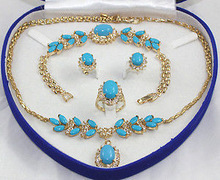 Bridal jewelry Turquoise jade Gold-plated necklace earring ring bracelet silver watch wholesale Quartz stone crystal