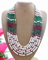 N130702 Beautiful 6strands White Pearl Necklace