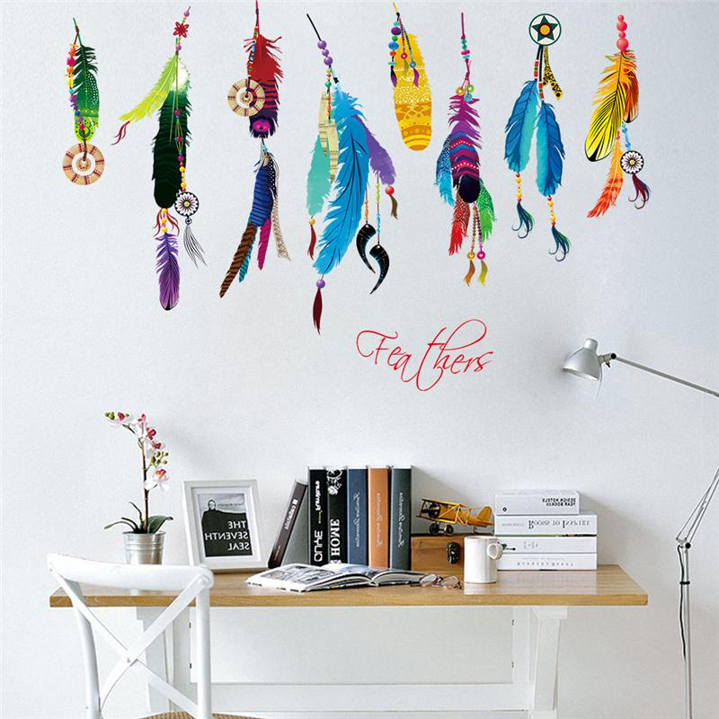 Colorful Feathers Dream Catcher Wall Art Office Living Room Decoration Diy Indian Style Wall Stickers Home Decals