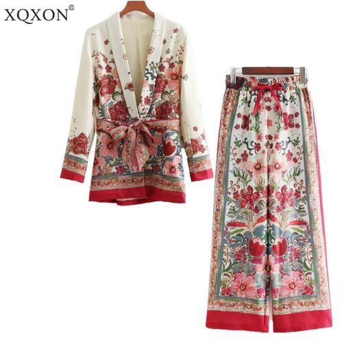 XQXON Women's suit female 2018 retro style flower pattern blazer European-style casual holiday jacket + pants Suits pajamas