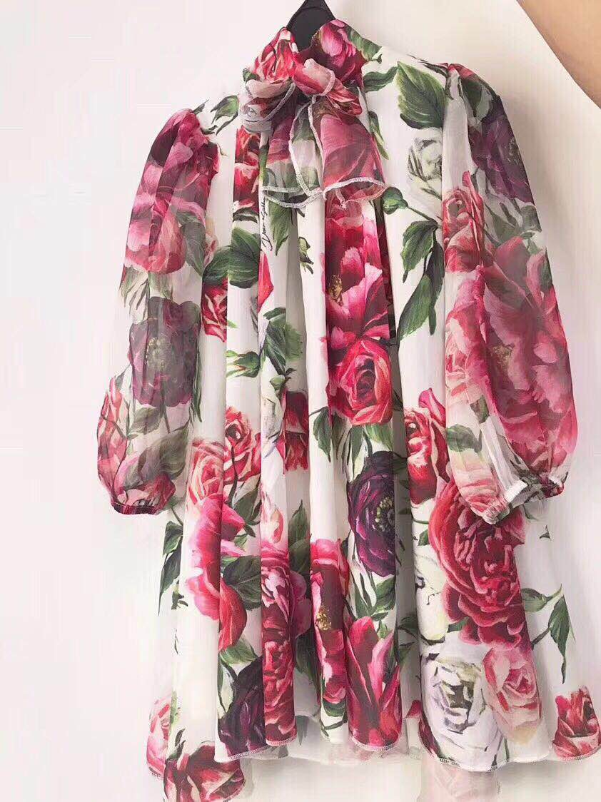 2018 Spring&Autumn Flower Printed Silk Girls Dress Bow Collar Long Sleeves Kids Girls Clothing Dress Girls 3 4 6 8 10 12 Years high collar long sleeve printed dress