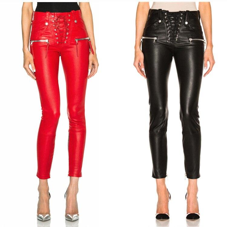 ¡Novedad de Primavera de 2019! pantalones de cuero pu largos de marca a la moda, paquete femenino de otoño, pantalones de tubo ajustados de calidad a la cadera, wq762, dropship