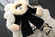 Real natual genuine Rex Rabbit Fur Coat with Lamb Fur Collar Winter fashion Fur Jacket Women