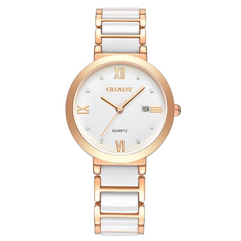 Новые женские часы брендовые кварцевые часы Роскошные водонепроницаемые золотые часы с розами Модные женские белые керамические часы Бесп...