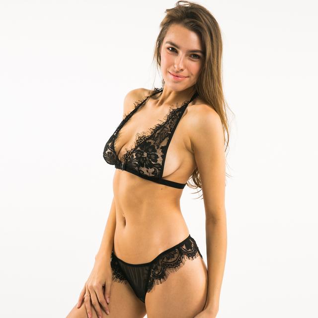 Missomo 2017 New Fashion Women Black Sexy Push Up Lace Trim Bralettes Semi-sheer Underwear Lingeries Soft Thong Panties Bra Set