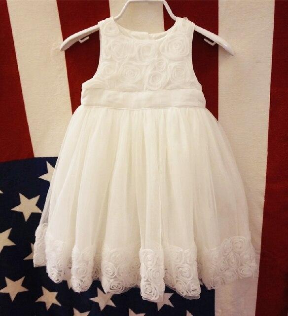 Детские девушки/малыша белый цветочный платье принцессы, партия/день рождения платье, симпатичные туту платье, 9 М до 36 М