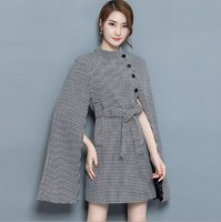 Autumn Winter Runway Designer Cloak Tunic Dress Women S High Quality Plaid Printed Dress Elegant Houndstooth