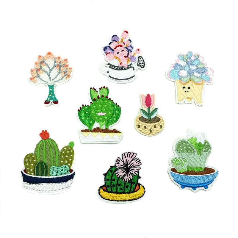2018 New Plant Embroidery patches Cactus Potted Clothes Decoration D-004