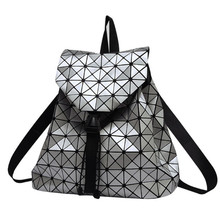 Women Backpack Feminine Geometric Plaid Sequin Female Backpacks For Teenage Ladies Bagpack Drawstring Bag Holographic Backpack