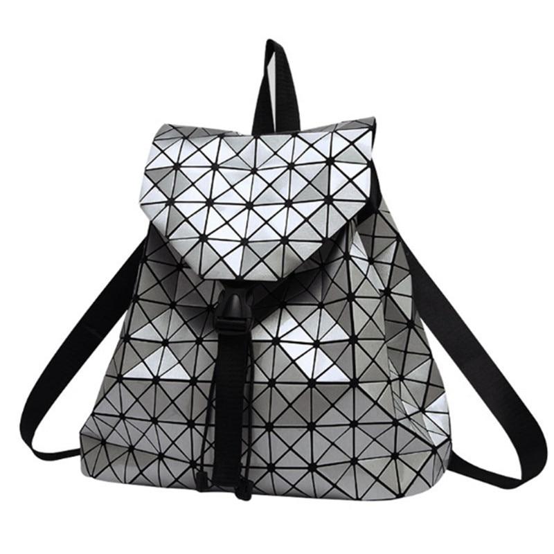 Women Backpack Feminine Geometric Plaid Sequin Female Backpacks For Teenage Ladies Bagpack Drawstring Bag Holographic Backpack