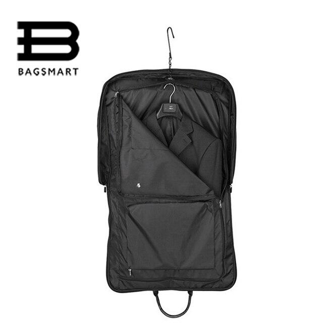 BAGSMART Black Nylon  Business Dress Garment Bag With Hanger Clamp Waterproof Suit Bag Durable Men'S Garment Suit Travel Bag