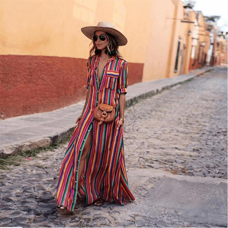 Women Elegant 3XL Plus Size Maxi Dress Colorful Striped Notched Beach Long Dresses 2019 Summer A Line Boho Dress image