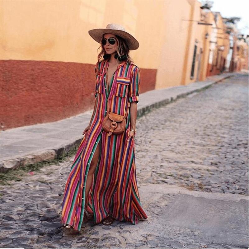 US $14.46 30% OFF|Kobiety elegancki 3XL sukienka plus size maxi kolorowe paski z wycięciem długie sukienki na plaży 2019 lato linia sukienka boho w