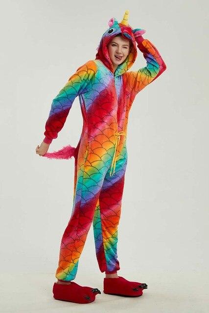 78b8df13 New Winter Women Men Unisex Adult Cute Cartoon Onesie Animal Pajamas Stitch  unicornio Unicorn Kigurumi Flannel Nightie Sleepwear