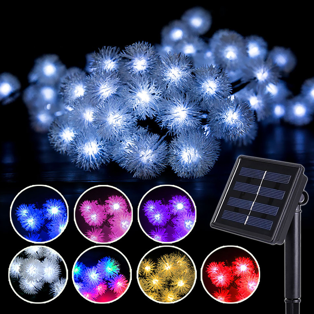 Edelweiss <font><b>Solar</b></font> <font><b>led</b></font> String light 20/<font><b>30</b></font>/50 <font><b>Led</b></font> Fairy Lights Fuzzy Ball oudtoor Waterproof garden Decorative Christmas Lighting image