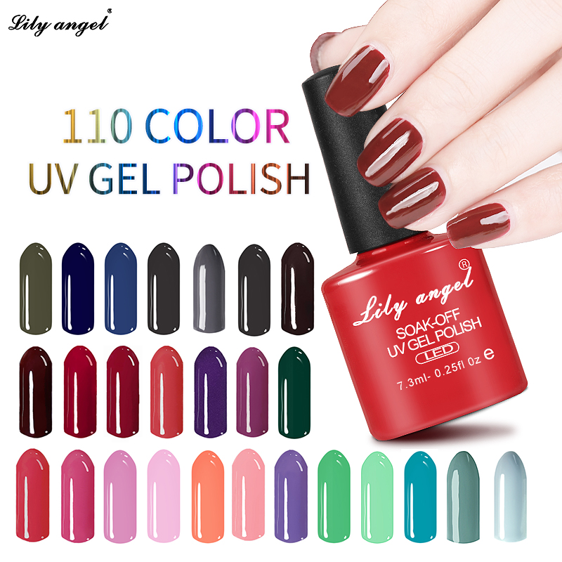 Lily malaikat Rendam off UV LED Gel Polish Colorful 7.3 ml Gel Cat Kuku Lacquer Pernis Permanen 110 Warna