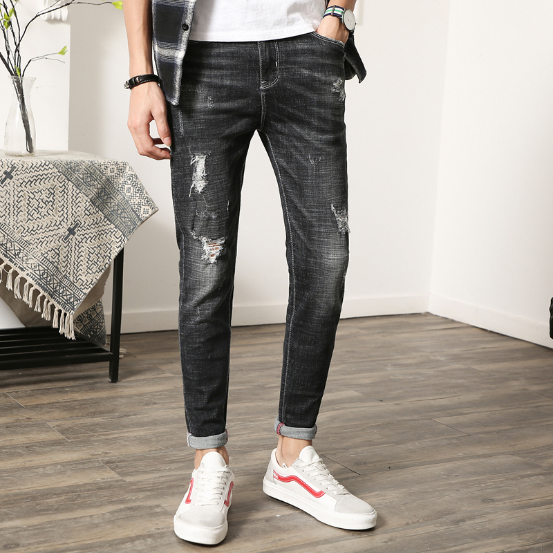 Men Black Cotton Jeans Spring Autumn Fashion Casual Mens Hole Jeans Size 28-36