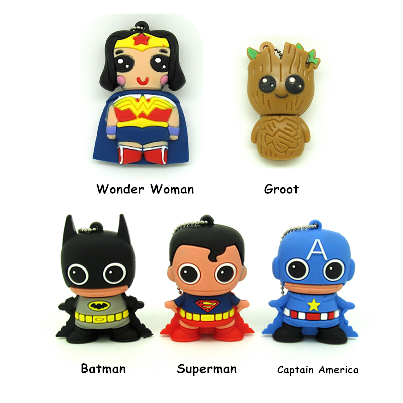Usb Flash Drive Cartoon Super Heros  32gb 16gb 8gb 4gb Funny Pendrive Memory Stick Wonder Woman  Batman Disk Gift Cle Usb
