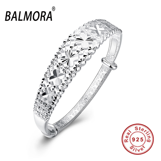 100% Real 925 Sterling Silver Jewelry Lucky Four-leaf Clover Cuff Bangles for Women Lady Gifts High Quality Bijoux SVB135