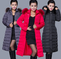 2014 women winter plus size super long cotton-padded coat slim zipper thick overcoat zipper hooded solid female coat XL-5XL E592
