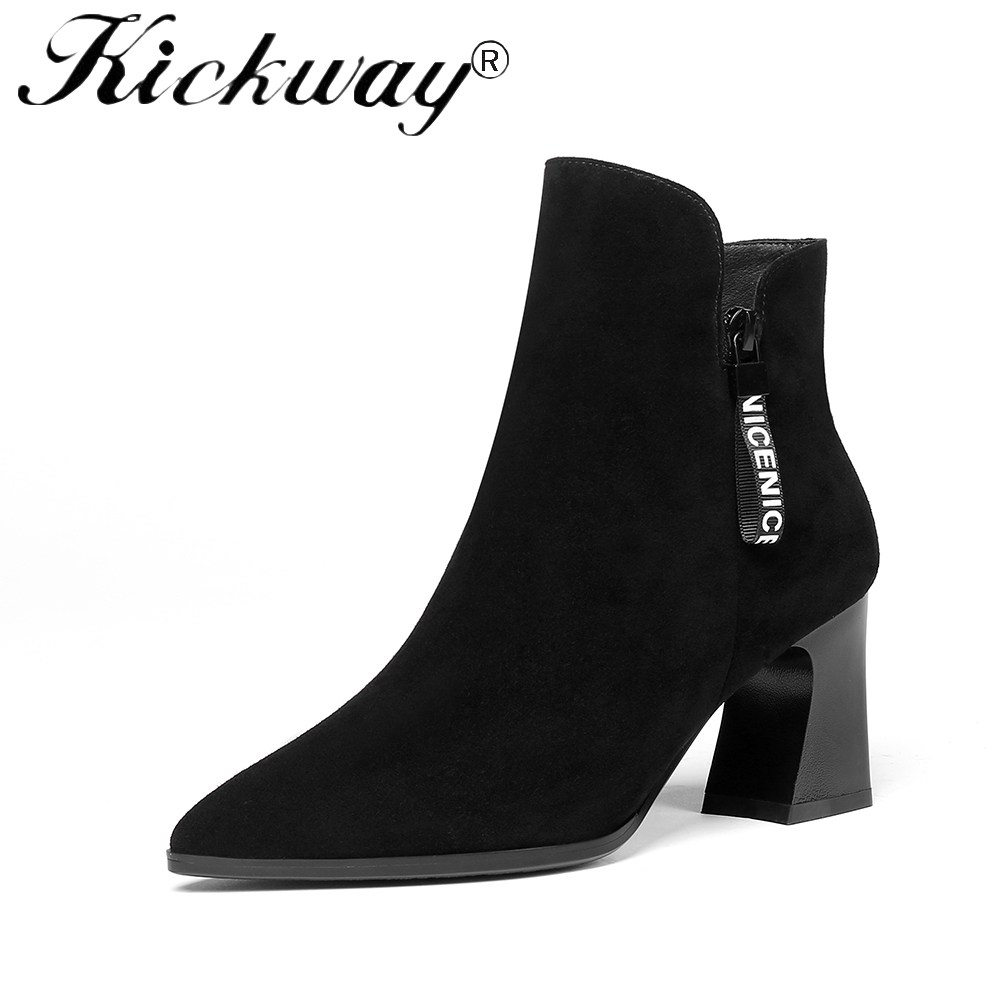 Kickway Women Ankle Boots Plus Size 34-42 Zipper Thick High Heel Solid Woman Boots Fashion Shoes Black Pointed Toe botas mujer nancyjayjii 2017 fashion lady black suede peep toe high heels ankle boots shoes for woman zapatos botas mujer plus size 5 14