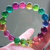Из натуральной красочные турмалином Самоцветы браслет прозрачные круглые бусины стрейч Для женщин браслет AAAAAA 10 мм Прямая доставка