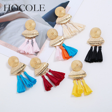 2018 Bohemian Lafite Tassel Earrings For Women Handmade Geometric Long Raffia Straw Drop Dangle Wedding Jewelry Bijoux