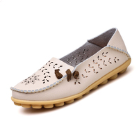 Summer Candy Colors Genuine Leather Women Casual Shoes Fashion Breathable Slip On Peas Massage Flat Shoes