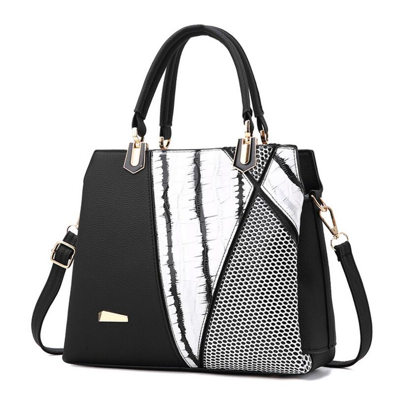 Women Brand Design Handbag Black And White Stripe Tote Female High Quality PU Leather Purses crossbody messenger shoulder bag fashionable women s tote bag with cover and pu leather design