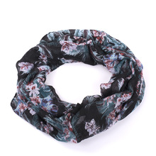 hot deal buy floral loop scarf women fashion autumn winter blue floral printed snood ring scarves ladies viscose infinity scarfs