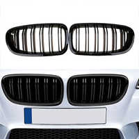 2010-2016 For BMW Sedan F10 F11 520i 530i 535i Gloss Black Front Kidney Twin FIns Double Lines Dual Slat Bumper Griil Grille