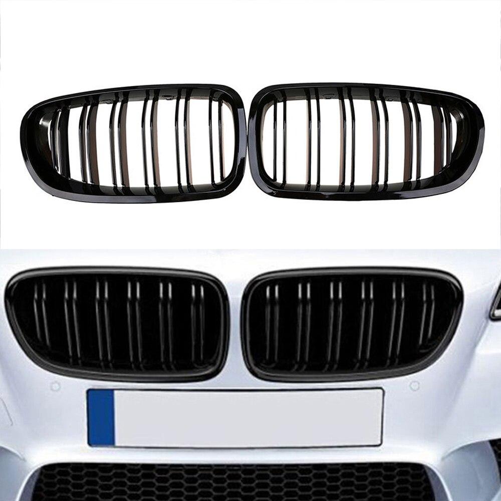 2010-2016 pour BMW Sedan F10 F11 520i 530i 535i noir brillant avant rein Double ailettes Double lignes Double lamelles pare-chocs Grille