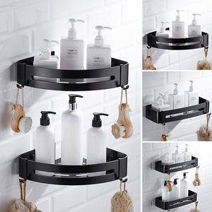 Image 4 - 1/2/3 Layer Antique Space Aluminum Corner Shelf Shower Shampoo Soap Cosmetic Shelves Shower Caddy Basket Black Bathroom Shelf